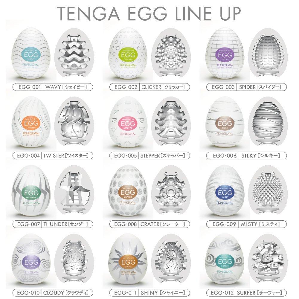 Masturbátory Tenga Egg a vnitřní uspořádání.