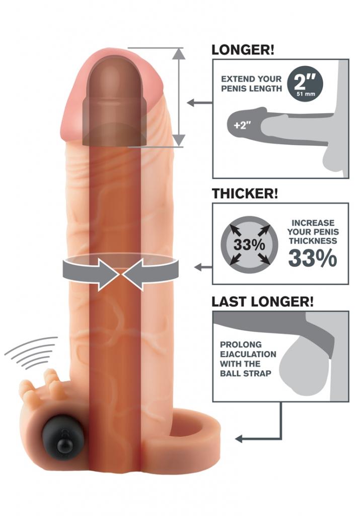 """Díky škrtícímu kroužku na varlata prodloužíte vaši ejakulaci a vaše vyvrcholení tak získá na intenzitě. Váš partner ocení hlubší penetraci díky prodloužení o 2"""" (51 mm) na špičce, zatímco ultra-realis…"""