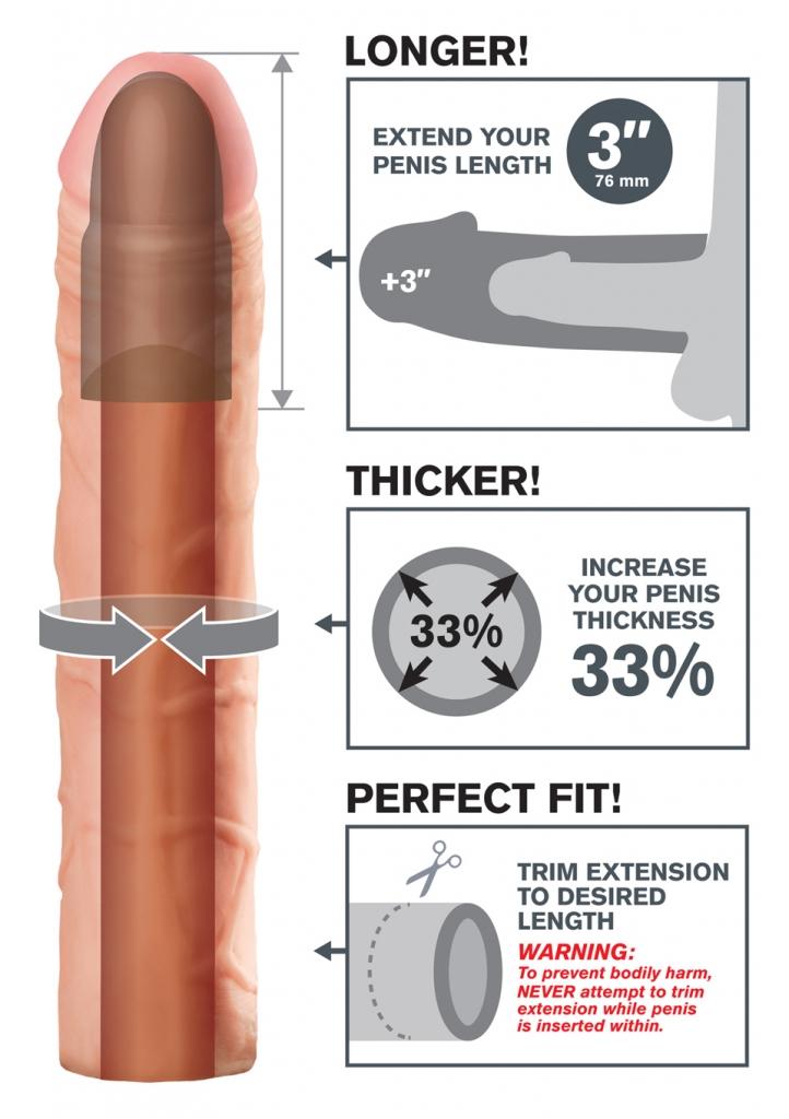 """Perfect 3"""" Extension je přizpůsobitelný návlek, jehož délku lze snadno upravit tak, aby perfektně padl. Je velmi pružný, aby se přizpůsobil každé velikosti a dostatečně pohodlný, pro vaši delší výdrž.…"""