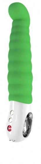Anatomickou rukojeť vibrátoru Patchy Paul G5 ve tvaru kroužku pro pohodlnou manipulaci jednou rukou.