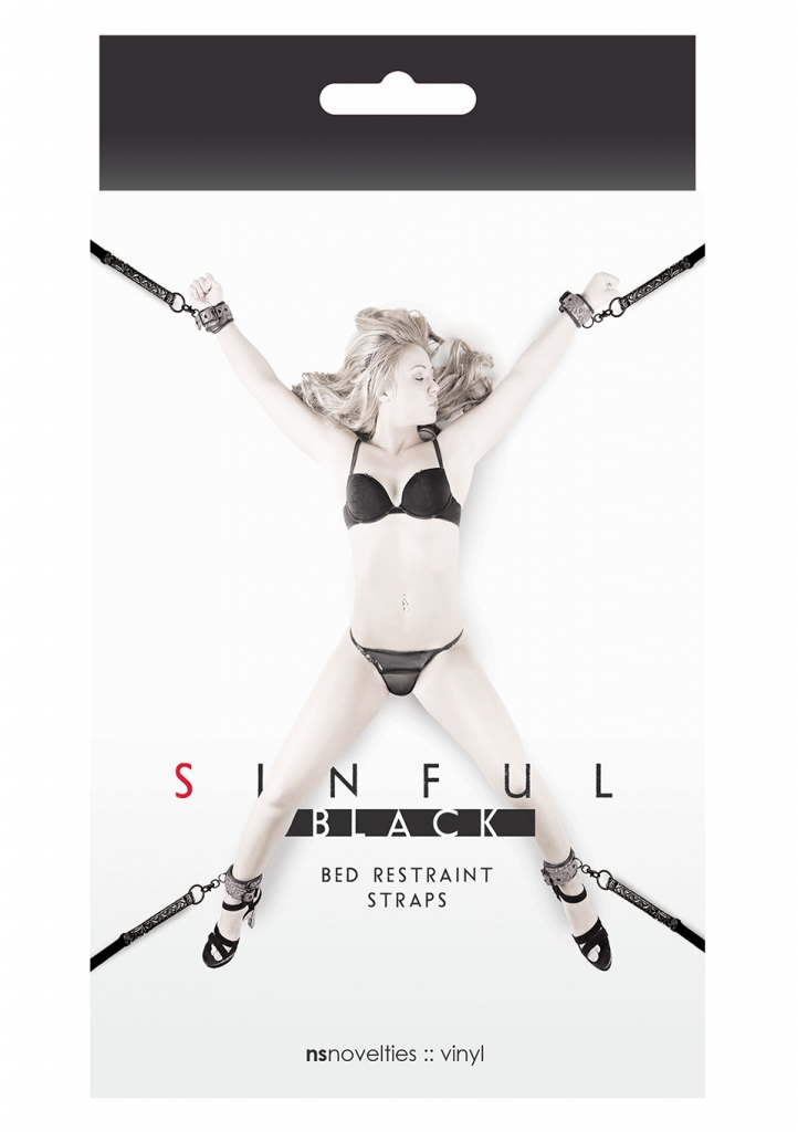Sinful Bed Restraint Straps black - NS Novelties