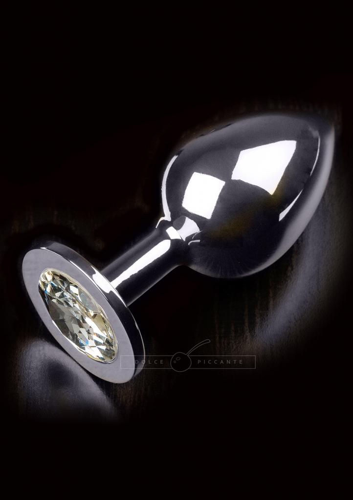 Anální kolík kovový s krystalem Jewellery Large Silver Diamond - Dolce Piccante