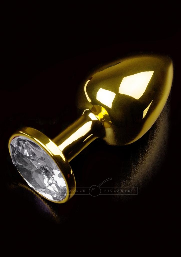 Anální kolík kovový s krystalem Jewellery Small Gold Diamond - Dolce Piccante