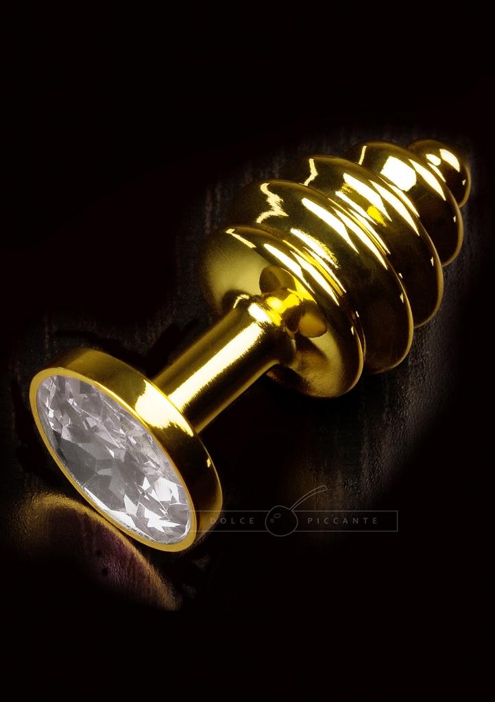 Anální kolík kovový s krystalem Jewellery Ribbed Gold Diamond - Dolce Piccante