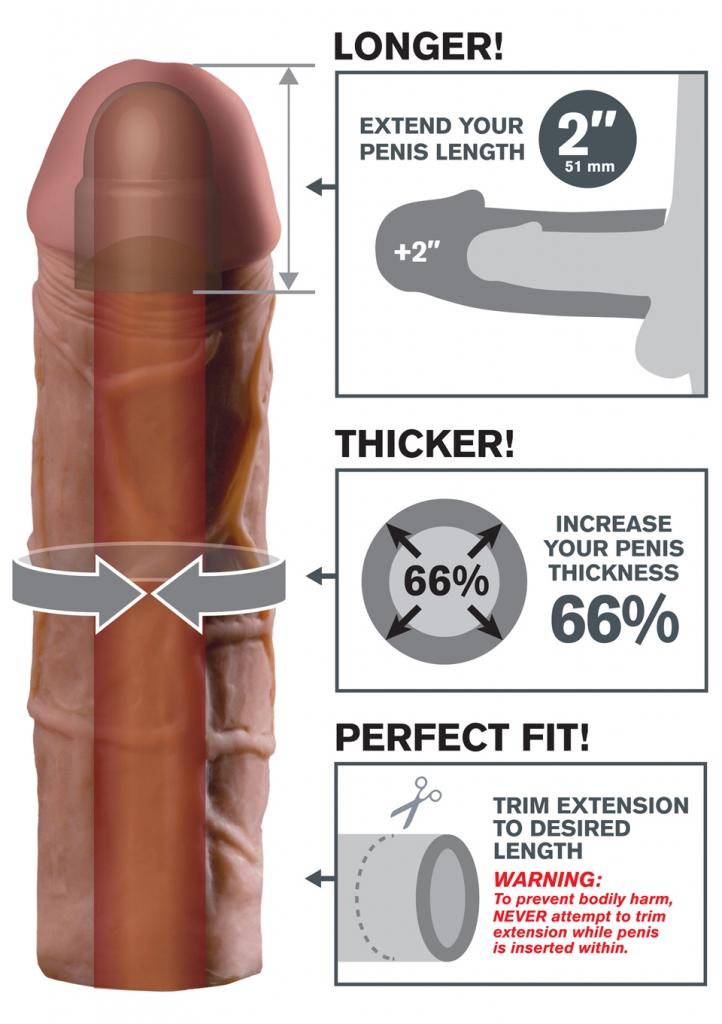 """Váš partner si bude užívat hlubší penetraci s prodloužením 2"""" (5,1 cm) na špičce, zatímco ultra-realistické tělo přidá 66% obvodu vašeho penisu. Měkký materiál Fanta Flesh pocítíte jako Vaši druhou ků…"""