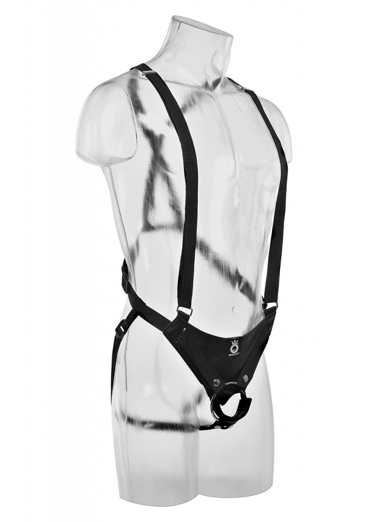 Tento strap-on systém je vybaven dvěma odolnými nylonovými ramenními popruhy, které lze snadno upravit, aby unesly váhu masivního dutého dilda, a spolu s nastavitelným nylonovým bederním popruhem je v…