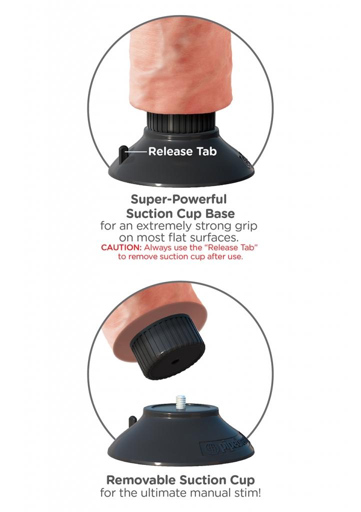 Super silná odnímatelná přísavka pevně drží na téměř jakémkoli rovném povrchu a díky ní jsou všechna vibrační dilda King Cock kompatibilní s postrojky Strap-on.