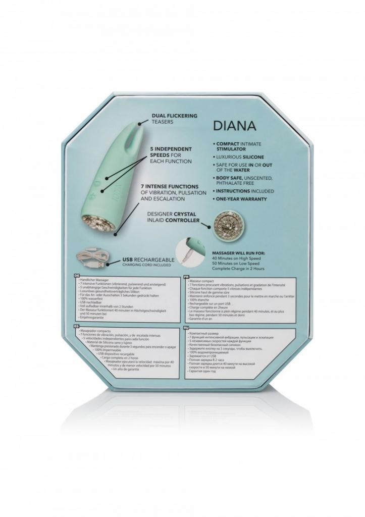 Jiskřivý Pavé Diana je malý cestovní vibrátor s oslnivými křišťálovými ozdobami, s dvojitou stimulační špičkou a 35-ti! úžasnými vibračními programy pro jedinečný zážitek.