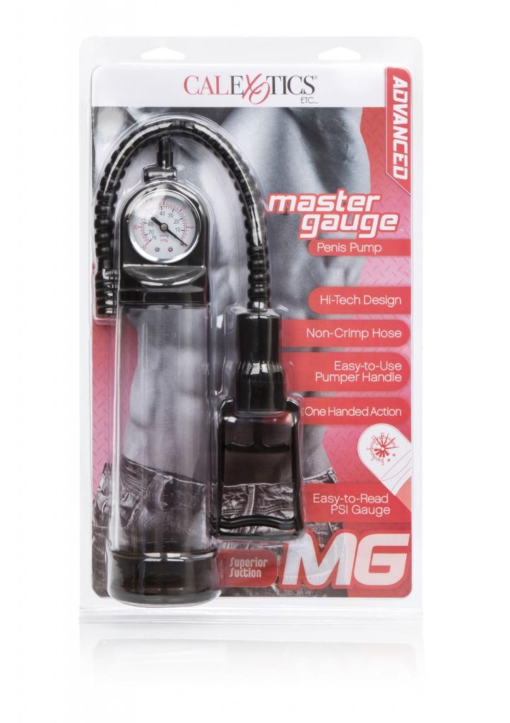 Vakuová pumpa s transparentním cylindrem a pumpičkou, kterou můžete ovládat jen dvěma prsty. Pumpa má ukazatel tlaku a měřící stupnici délky Vašeho penisu.
