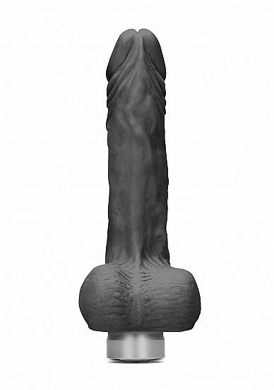 Shots - RealRock Realistic Vibrating Dildo with Balls 17cm Black vibrátor