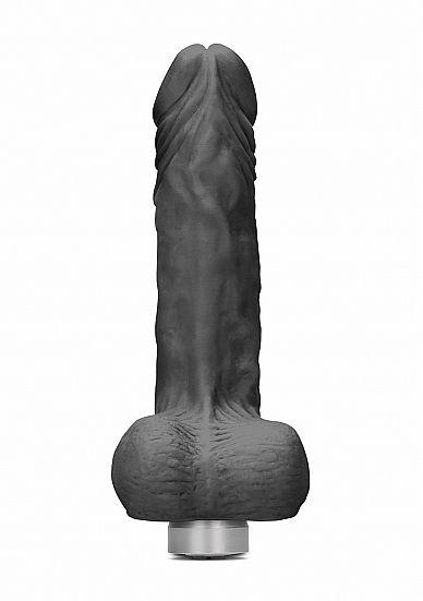 Shots - RealRock Realistic Vibrating Dildo with Balls 20cm Black vibrátor