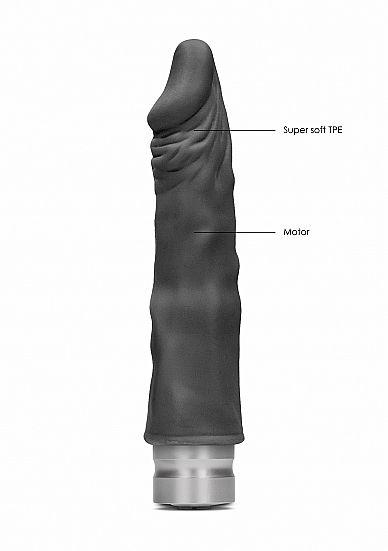 Shots - RealRock Realistic Vibrating Dildo 17cm Black vibrátor
