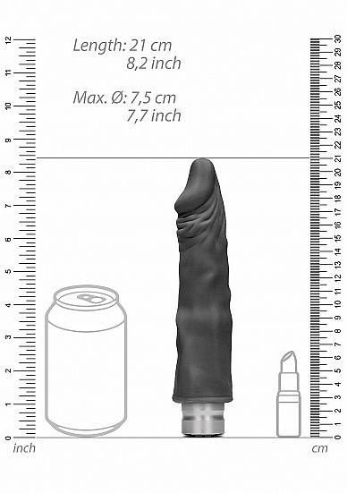 Shots - RealRock Realistic Vibrating Dildo 20cm Black vibrátor