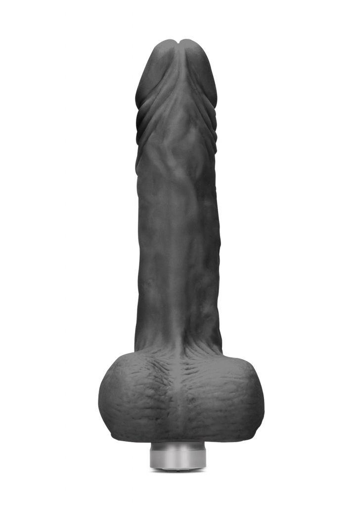 Shots - RealRock Realistic Vibrating Dildo with Balls 25cm Black vibrátor