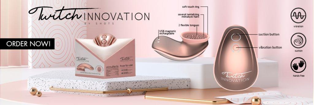 Shots Innovation Twitch Hands-Free Suction & Vibration Toy Rose stimulátor klitorisu