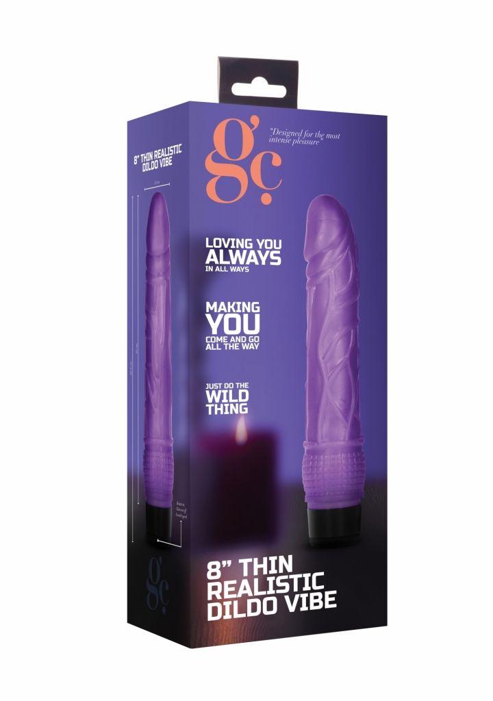 Shots 8 Inch Thin Realistic Dildo Vibe Purple vibrátor