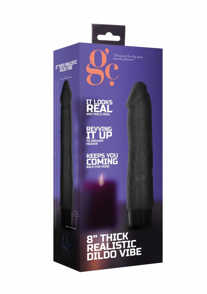 Shots 8 Inch Thick Realistic Dildo Vibe Black vibrátor