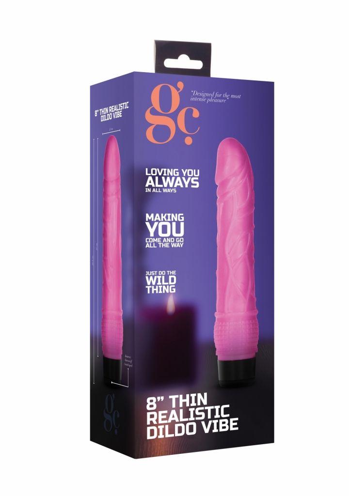 Shots 8 Inch Thin Realistic Dildo Vibe Pink vibrátor