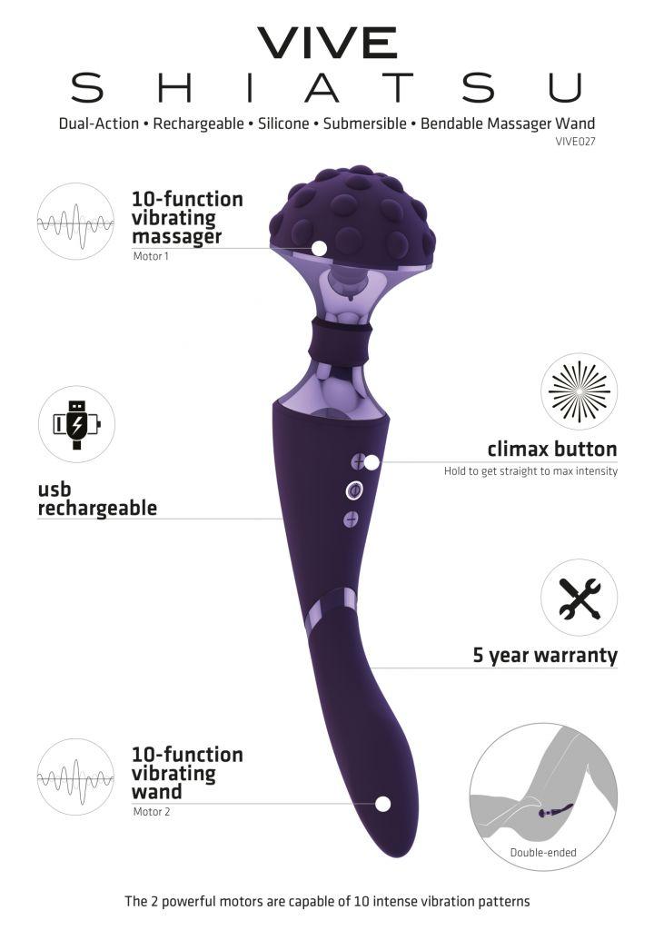 Shots - VIVE Shiatsu Purple masážní hlavice