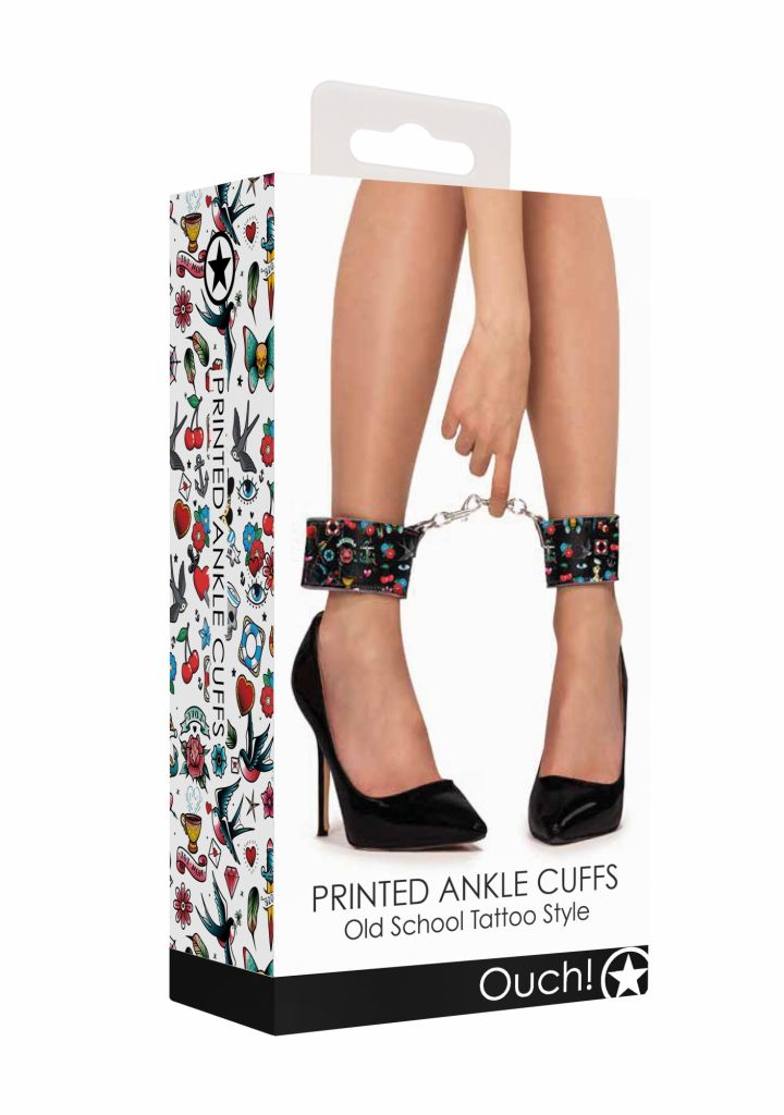 Shots - Ouch! Printed Ankle Cuffs Old School Tattoo Style pouta na kotníky