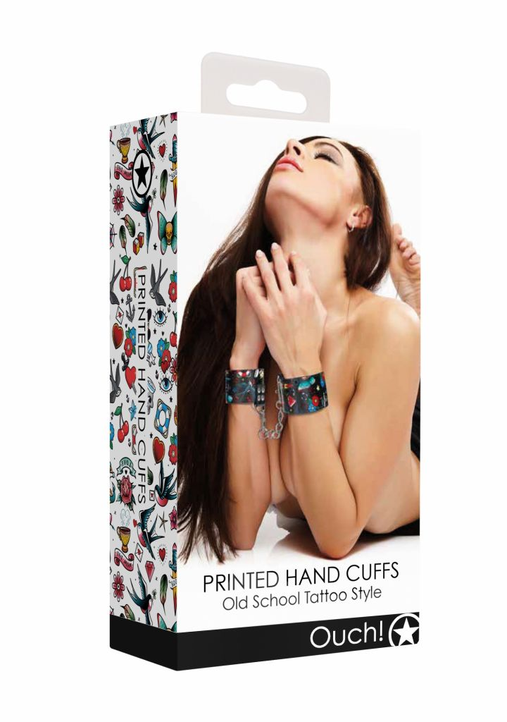 Shots - Ouch! Printed Hand Cuffs Old School Tattoo Style pouta na ruce