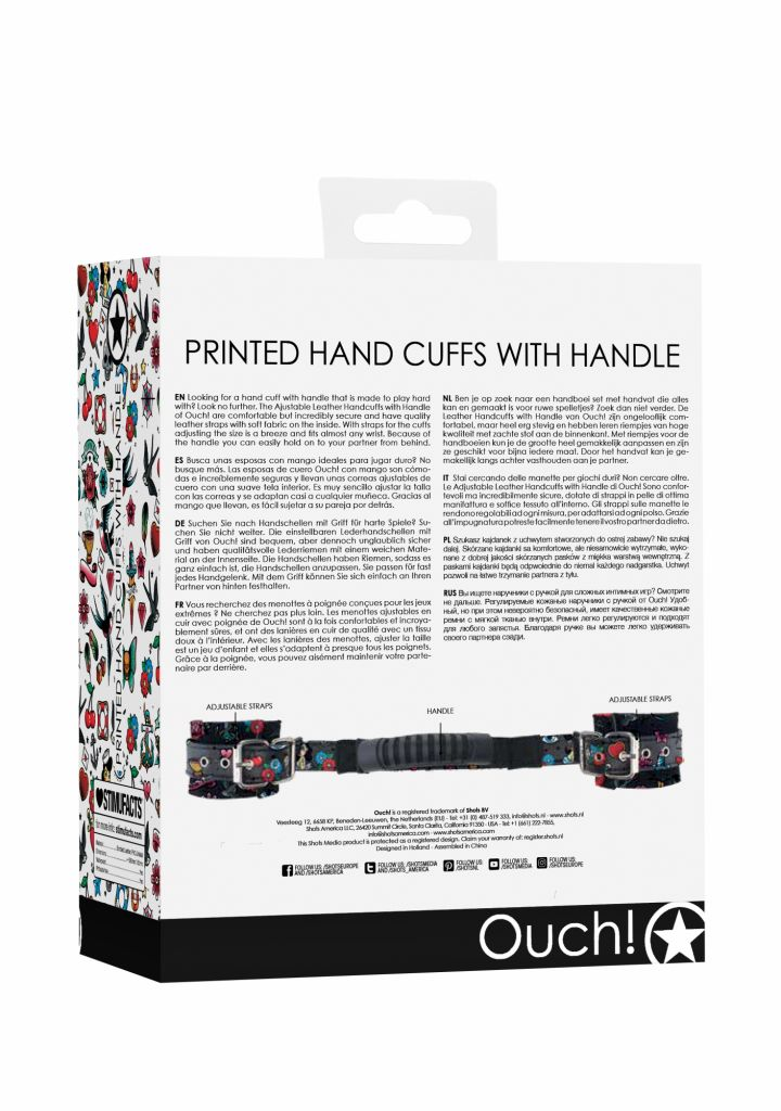 Shots - Ouch! Printed Hand Cuffs With Handle Old School Tattoo Style pouta na ruce s rukojetí