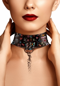 Ouch! Printed Collar With Leash Old School Tattoo Style obojek s vodítkem - Shots