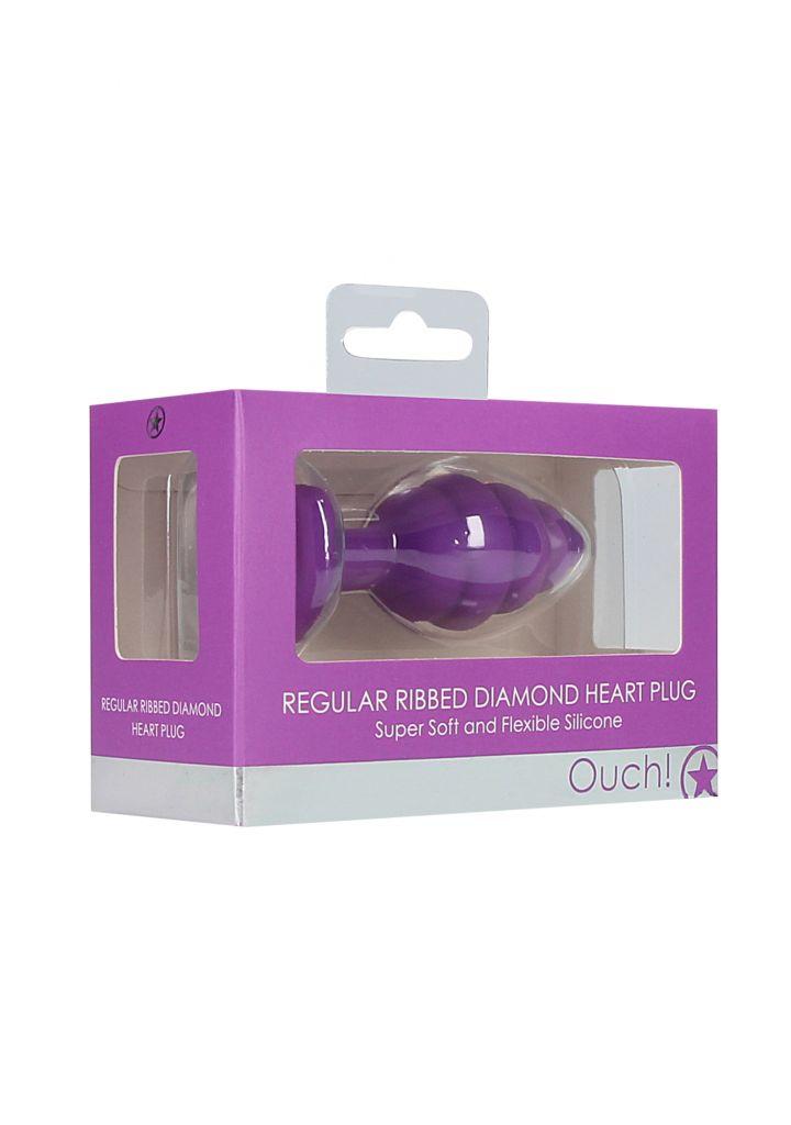 Shots - Ouch! Regular Ribbed Diamond Heart Plug purple anální kolík