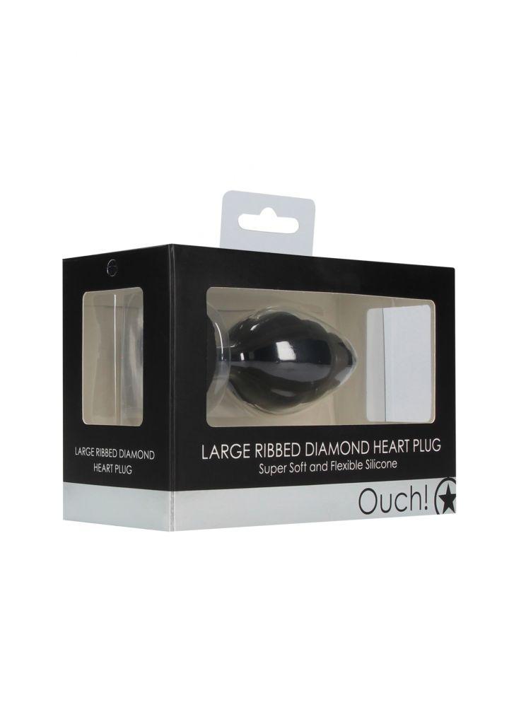 Shots - Ouch! Large Ribbed Diamond Heart Plug black anální kolík