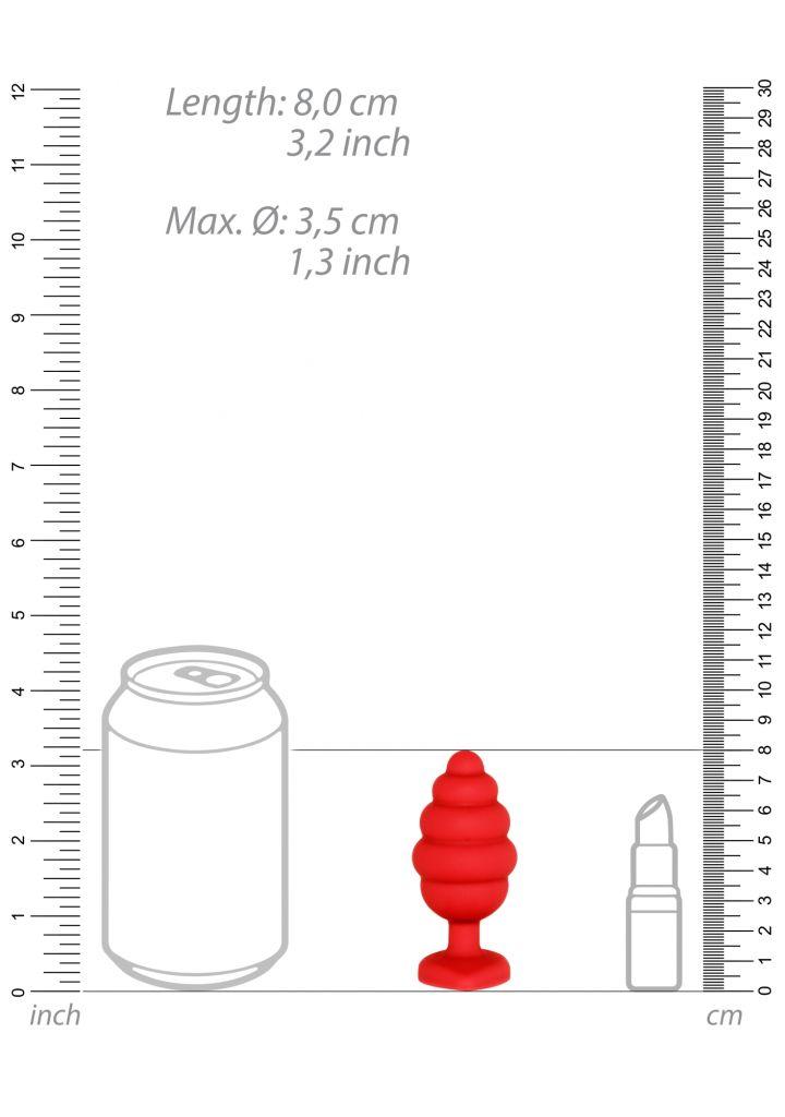 Shots - Ouch! Large Ribbed Diamond Heart Plug red anální kolík