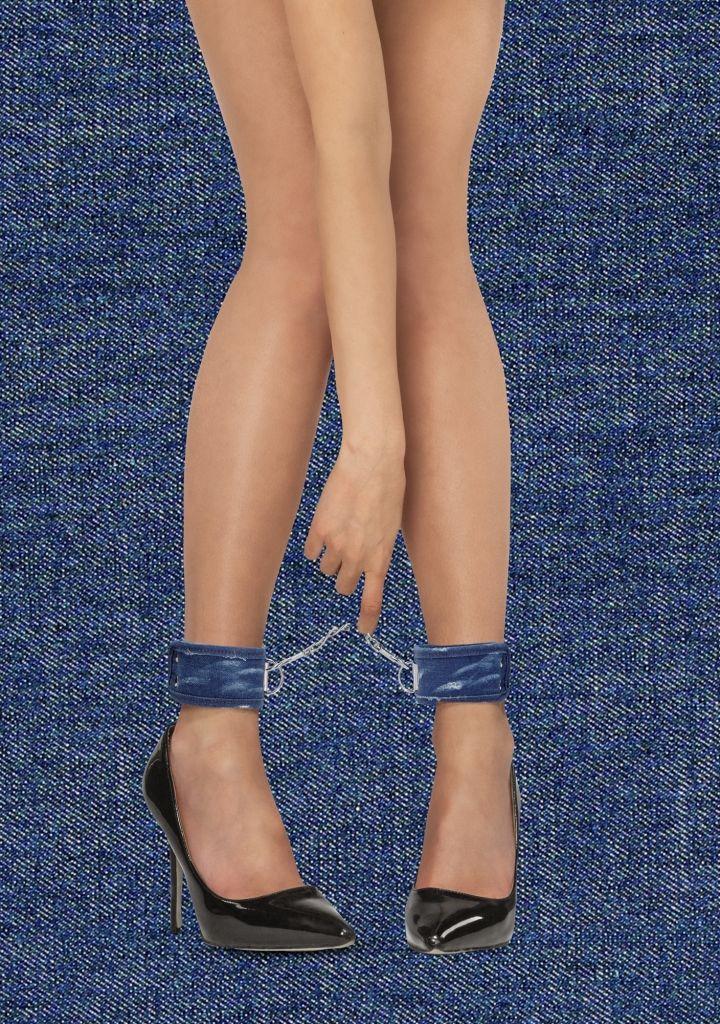 Shots - Ouch! Denim Ankle Cuffs Roughend Blue pouta na kotníky
