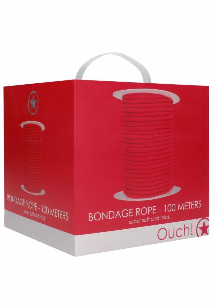 Shots - Ouch! Bondage Rope 100 Meters Red bondážní lano