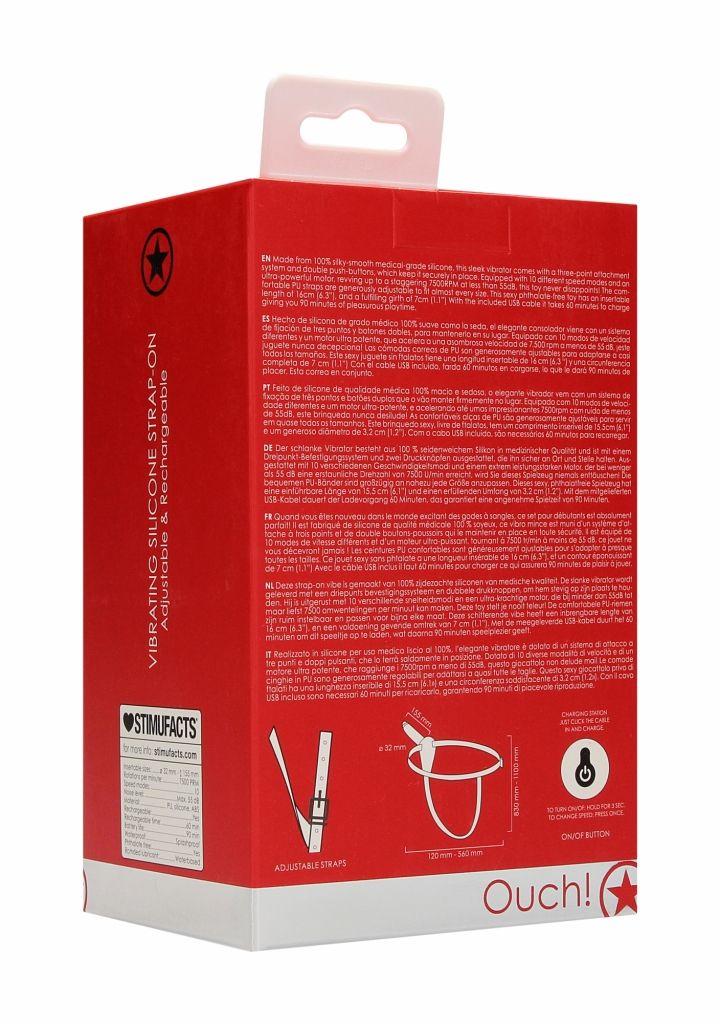 Shots Ouch Vibrating Silicone Strap-On-Adjustable red připínací penis vibrační