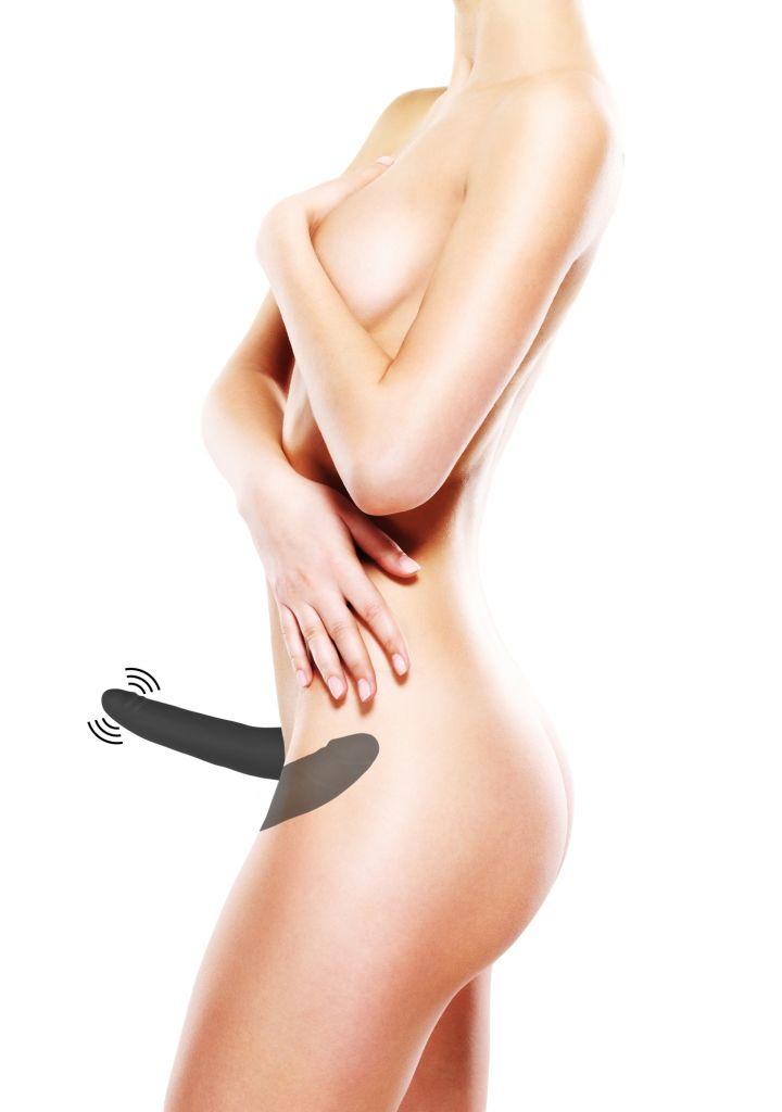 Shots Ouch Double Vibrating Silicone Strap-On Black Vibrační připínací penis