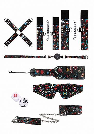 Shots - Bondážní sada Ouch! Printed Bondage Kit Old School Tattoo Style Black