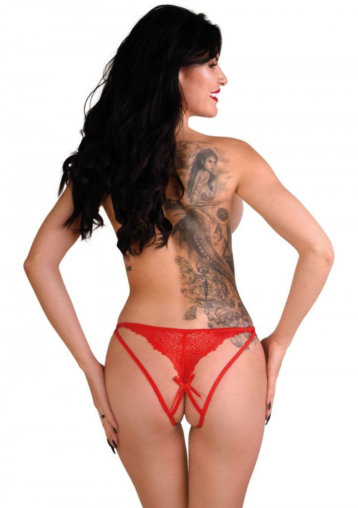 Daring Intimates Naomi red L/XL - kalhotky s otevřeným rozkrokem