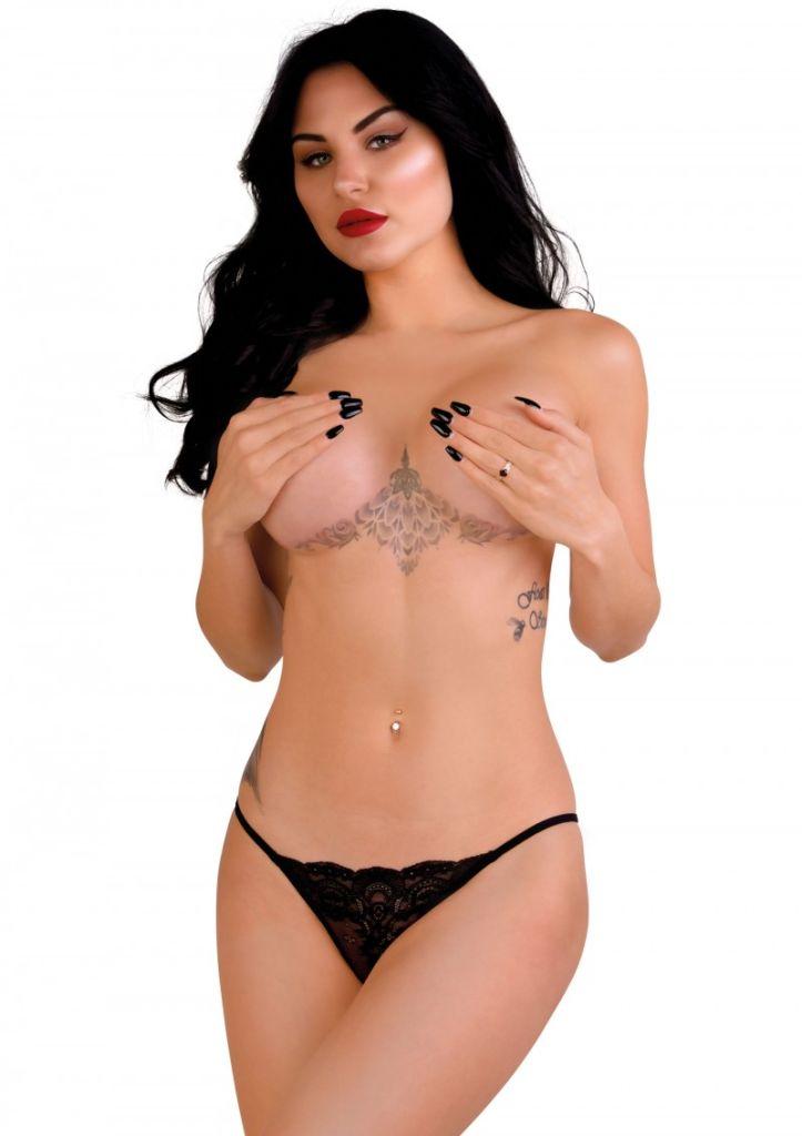 Daring Intimates Natalia black S/M - kalhotky s otevřeným rozkrokem