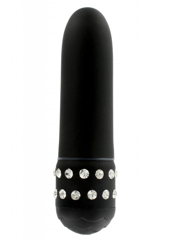 Černý plastový mini vibrátor Diamond Black Petit, zdobený kamínky z kvalitního ABS plastu.I přes jeho mini velikost je velmi atraktivní a zábavný