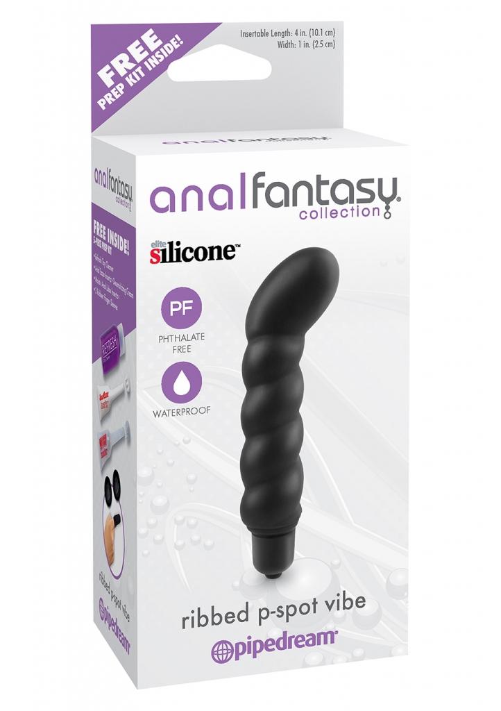 vibrátor Ribbed p-spot AFC, anální lubrikační gel, anální krém s obsahem znecitlivujících látek, čistící a desinfekční roztok pro hygienické ošetření 2 ks análních návleků na prsty