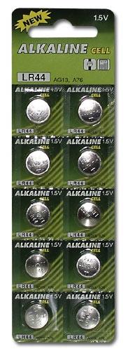 Baterie alkalické hodinkové LR44 10ks