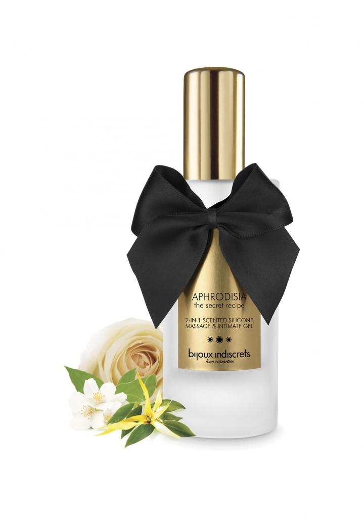 Bijoux Indiscrets Aphrodisia 2 in 1 Scented Silicone Massage and Intimate Gel 100ml - afrodiziakální masážní gel