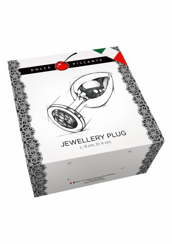 Dolce Piccante - Anální kolík kovový s krystalem Jewellery Large Silver Diamond purple