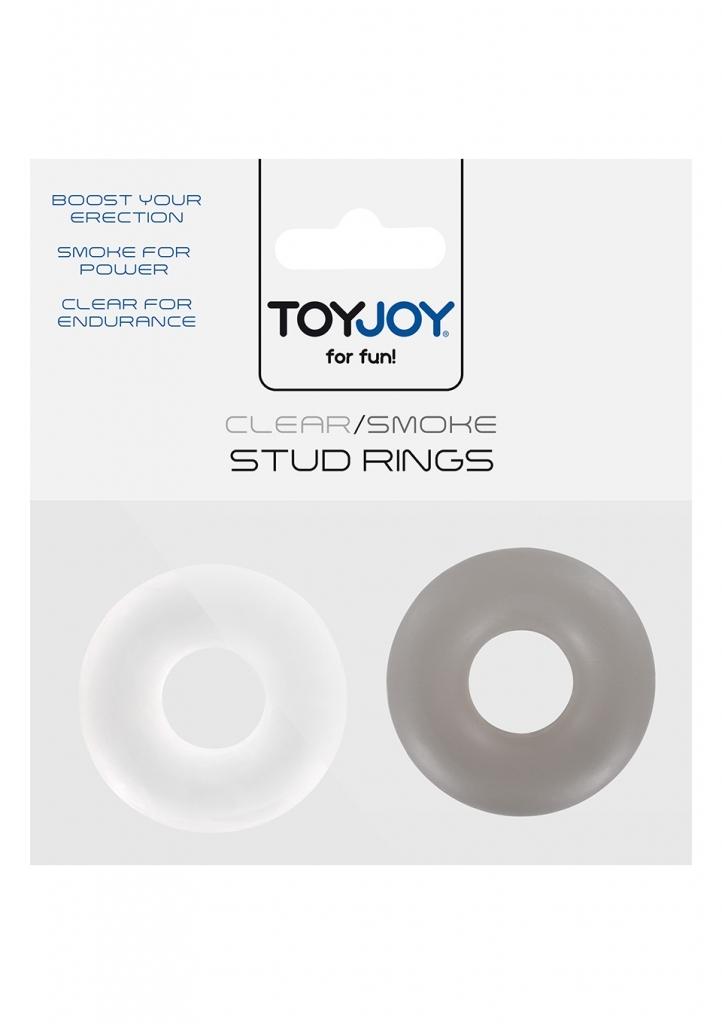 ToyJoy - Erekční kroužky Stud Rings clear/smoke 2ks