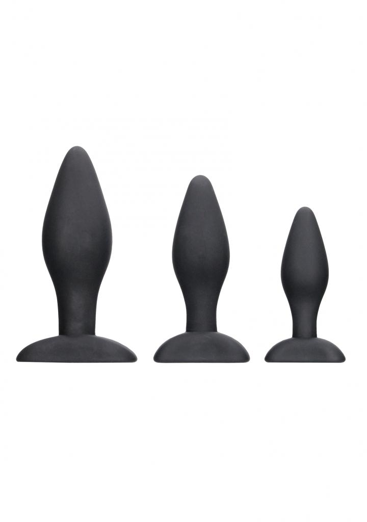 Shots - Apex Butt Plug Set Black anální kolíky sada