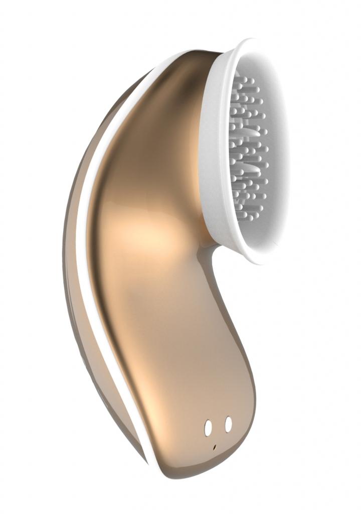 Shots Innovation Twitch Hands-Free Suction & Vibration Toy Gold stimulátor klitorisu
