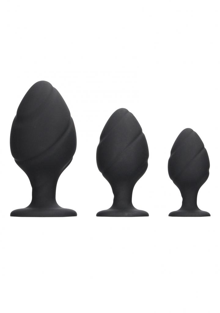 Shots - Swirled Butt Plug Set - Black anální kolíky sada