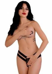 Daring Intimates Lucy black L/XL - tanga s otevřeným rozkrokem