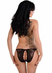 Daring Intimates Natalia black L/XL - kalhotky s otevřeným rozkrokem