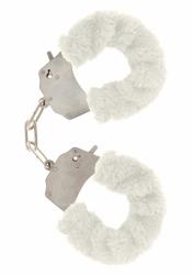 ToyJoy Furry Fun Cuffs pouta na ruce plyšová bílá