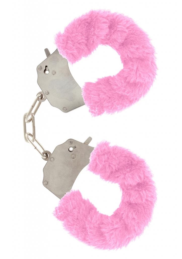 ToyJoy Furry Fun Cuffs pouta na ruce plyšová růžová
